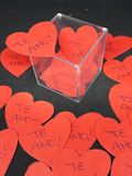 Someone is in love ... Many hearts written I love you royalty free stock photo