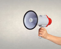 Someone with a Megaphone for proclaiming something Stock Photos