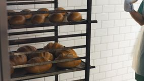 Someone moves the tray with loaves of fresh bread. At the bakery factory stock video footage