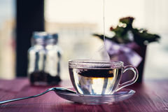 Someone preparing tea. Putting tea bag into glass cup full of hot water Stock Photo