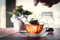 Someone preparing tea. Putting tea bag into glass cup full of hot water Stock Photos