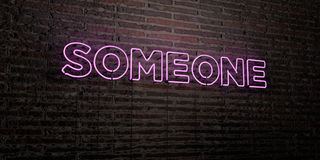 SOMEONE -Realistic Neon Sign on Brick Wall background - 3D rendered royalty free stock image Stock Photos