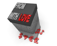 From someone red love box gift gray stylish blank Royalty Free Stock Images