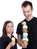Someone's feeling shorted on ice cream Stock Image