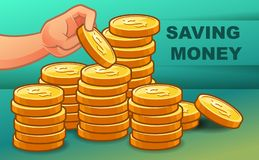 Someone is saving money for wealth. royalty free illustration