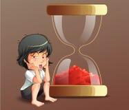 Someone siedzi z piaska zegarem ilustracji