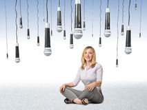 Someone spy me. Smiling sit woman and 3d microphone background Stock Photography