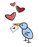 Someone is thinking of you ... Bird with a love-letter and flying hearts vector illustration