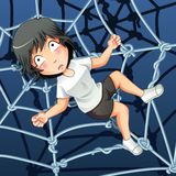 Someone is trapped in a spider net. royalty free illustration