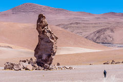 Someone walking alone at Salar de Tara. Atacama Desert - Chile Stock Photography