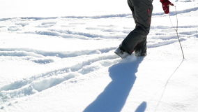 Someone is Walking around Snow During Sunny Winter Day. Shadows and Footprints are on the Ground. stock video footage