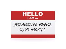 Someone who can help card. Card with words, hello I am someone who can help, white background Royalty Free Stock Photos