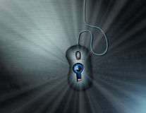 Someones Watching. Computer Privacy and Security: An eye peers through a keyhole in computer mouse Royalty Free Stock Images
