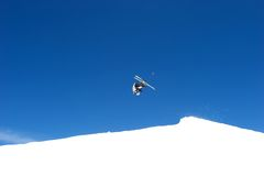 Somersault ski jump on slopes of ski resort in Spain Royalty Free Stock Photos