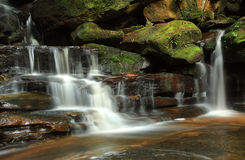 Somersby Falls, Australia. Water cascading over moss covered rocks at Somersby Falls, Australia Royalty Free Stock Photos