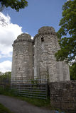 Somerset castle. Nunney castle near Frome, Somerset UK. Built in the late 14th century by Sir John Delamare, the castle is moated, The castle was damaged during Stock Images