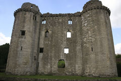 Somerset castle. Nunney castle near Frome, Somerset UK. Built in the late 14th century by Sir John Delamare, the castle is moated, The castle was damaged during Royalty Free Stock Image