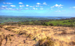 Somerset country view from Black Down Mendip Hills in colourful HDR Stock Photo