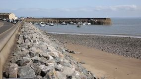 Somerset harbour of Minehead England with boats stock video footage