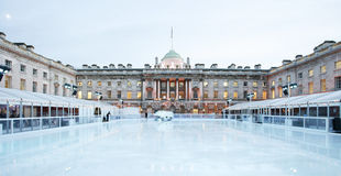 Somerset House Ice Rink. Night View of Somerset House ice rink in Strand, London royalty free stock image