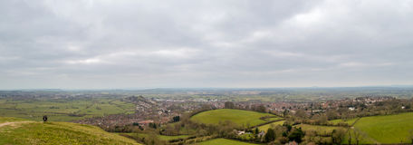 Somerset Landscape cloudy sky. View from Glastonbury Tor Royalty Free Stock Photography