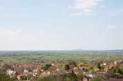 Somerset landscape. The landscape of Glastonbury in somerset in England royalty free stock photo