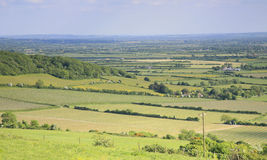 Somerset landscape view. View of Brent Knoll in the county of Somerset in the southwest of the UK Stock Photos