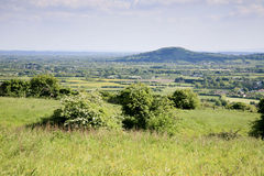 Somerset landscape. Viewed from the top of the Mendip hills looking towards Brent Knoll Stock Photography
