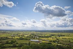 Somerset Levels from Glastonbury Tor. A view of the patchwork landscape of the Somerset Levels, from Glastonbury Tor royalty free stock photos