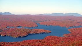 Somerset Reservoir. Wilmington Vermont from Mount Snow Vermont summit in Fall colors and Green Mountains forest Stock Photo
