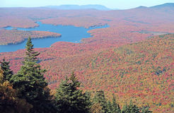Somerset Reservoir. Wilmington Vermont from Mount Snow Vermont summit in Fall colors and Green Mountains forest Stock Photography