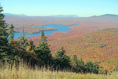 Somerset Reservoir. Wilmington Vermont from Mount Snow Vermont summit in Fall colors and Green Mountains forest Royalty Free Stock Photos