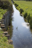 Somerset river with barrier to protect the bank Royalty Free Stock Photography