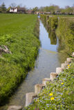 Somerset river with barrier to protect the bank Royalty Free Stock Images