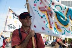 Somerville, Massachusetts, U.S.A. - 11 ottobre 2015 - SUONI IL CLACSON il festival delle bande della via dell'attivista Fotografie Stock Libere da Diritti