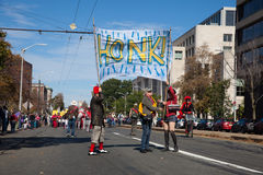 Somerville, Massachusetts, U.S.A. - 11 ottobre 2015 - SUONI IL CLACSON il festival delle bande della via dell'attivista Fotografia Stock Libera da Diritti