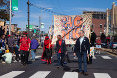 Somerville, Massachusetts, USA - OCTOBER 11, 2015 - HONK Festival of activist street bands. Somerville, Massachusetts, USA - OCTOBER 11, 2015 - Second day of Royalty Free Stock Image