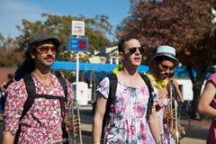Somerville, Massachusetts, USA - OCTOBER 11, 2015 - HONK Festival of activist street bands. Somerville, Massachusetts, USA - OCTOBER 11, 2015 - Second day of stock photos