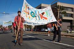 Somerville, Massachusetts, USA - OCTOBER 11, 2015 - HONK Festival of activist street bands. Royalty Free Stock Images
