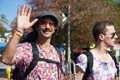 Somerville, Massachusetts, USA - 11. Oktober 2015 - HUPEN Sie Festival von Aktivistenstraßenbändern Lizenzfreie Stockbilder