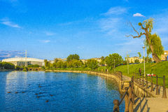 Somes river. Park by the somes river in Cluj-Napoca, Romania Stock Photo