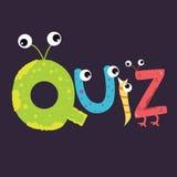Someta a interrogatorio el alfabeto del carácter de los niños de la diversión del texto con el ojo Imagen de archivo