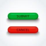Someta y cancele los botones 3d Fotografía de archivo libre de regalías
