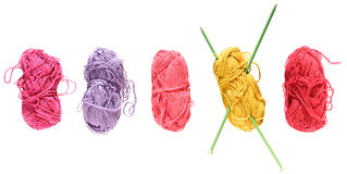 Something bright for summer. (row of brightly-colored cotton yarn balls Stock Images