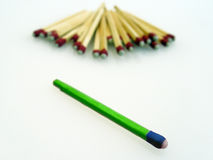 Something different. An odd looking match separate from the generic looking pack Royalty Free Stock Image