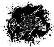 Something fishy. Angler fish vector design on a black abstract spot, vector illustration Royalty Free Stock Photography