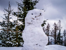 Something is just not right with this snowman. Winter season, snow and trees Stock Photos