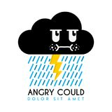 Angry Cloud With Lightning And Rain Cartoon Character ...