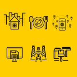 Home, Restaurant, Save Drive, Signal, Renovation icon in Pack royalty free illustration