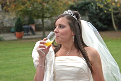 Something For The Nerves. A young bride sipping a glass of Bucks Fizz Royalty Free Stock Photography
